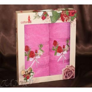 Подарочный набор полотенец 2 в 1 с вышивкой розы из хлопка