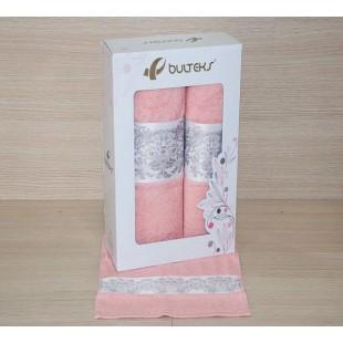 Набор полотенец 3 в 1 в нежно-розовой гамме из хлопка