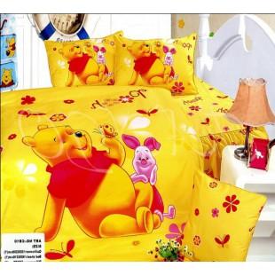 Десткое желтое постельное белье - Винни и пятачок с цветочками и бабочками