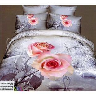 Зимнее постельное белье с расцветкой с лебедями и розами