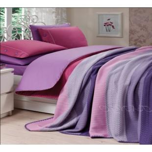 Набор КПБ с вязаным покрывалом серо-фиолетовой гаммы