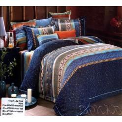 Постельное белье делюкс в синей гамме с разноцветным геометрическим принтом