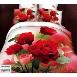Постельное белье с красными розами 3D сатин