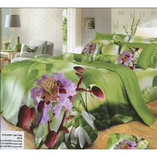 Постельное белье зеленое 3D с фиолетовыми цветами из сатина