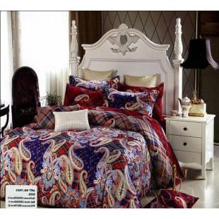 Красно-синее постельное белье из сатина с орнаментом пейсли