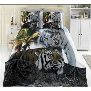Постельное белье из бамбука с парой тигров бело-серое