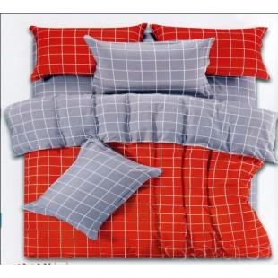 Постельное белье в серо-красной гамме в клетку твил