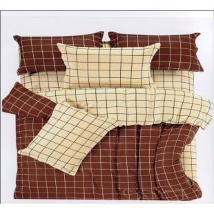 Клетчатое постельное белье - беж с шоколадом