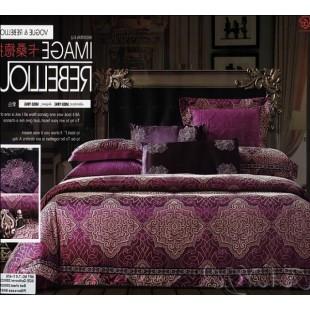 Постельное белье лилового цвета с принтом жаккард