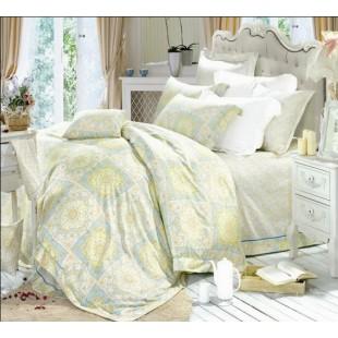 Комплект сатинового постельного белья пастельной гаммы печворк