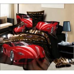 Темно-коричневое постельное белье с лаковой красной машиной 3D