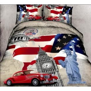 Постельное белье с флагом США, бигбеном и статуей свободы сатин
