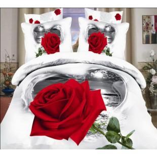Постельное белье белого цвета с красной розой в сердце сатин