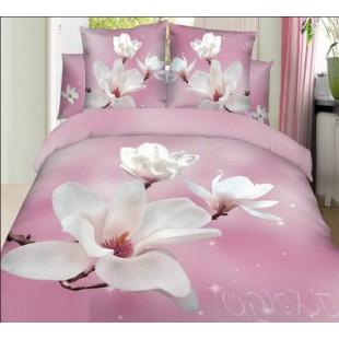 Загадочное постельное белье розовое с белыми магнолиями