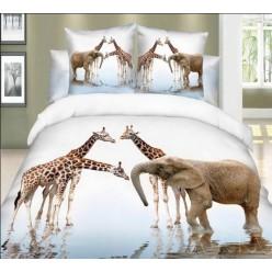 Постельное белье со слонами и жирафами белое