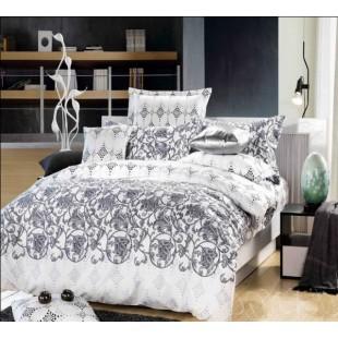 Комплект белого постельного белья с серым орнаментом из сатина