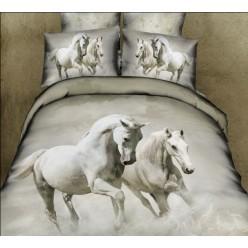 Светло-серое постельное белье с белыми лошадьми из сатина