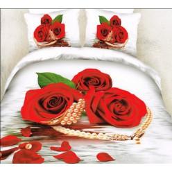 Сатиновый комплект постельного белья с алыми розочками и жемчужным колье
