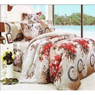 Постельное белье сливочного цвета с цветами сатин