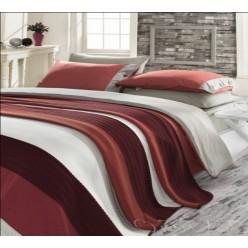 Элитный набор белья с вязаным покрывалом бордово-серый