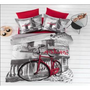 Красно-серое постельное белье с велосипедом - London