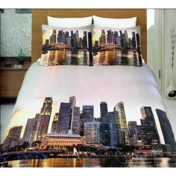 Светлое постельное белье из бамбукового волокна с небоскребами