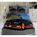 Постельное белье бамбуковое с черно-оранжевым автомобилем