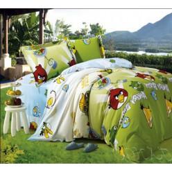 Зеленое с голубым постельное из фланели с Angry Birds