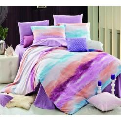 Фиолетовое постельное из фланели с коралловыми и голубыми полосами