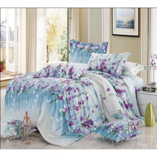 Постельное белье в голубых тонах с фиолетовыми цветами - фланель