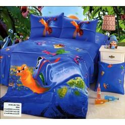 Постельное белье - Улитка Турбо - синий сатин для детей
