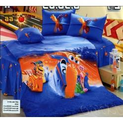 Синее постельное белье с оранжевой улиткой Turbo