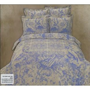 Бело-голубое сатиновое постельное белье с амурами