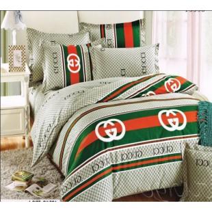 Комплект постельного белья светло-зеленый с принтом Gucci
