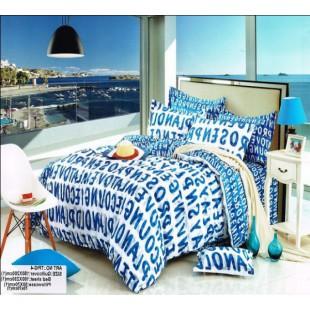 Буквенное постельное белье бело-синей гаммы из твила