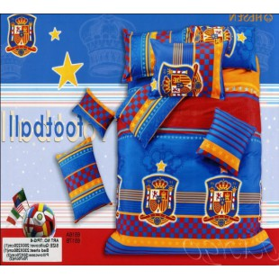 Постельное белье - футбольный герб Испании - синее с красным
