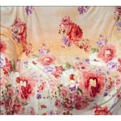 Шелковистый плед - красные и белые цветы на персиковом фоне