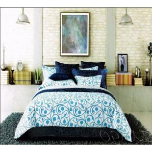 Комбинированный бело-синий-голубой комплект из сатина