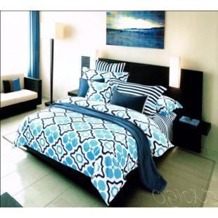 Креативный КПБ полоски и узоры в морском стиле - бело-синяя гамма