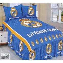 Постельное белье с символикой ФК Реал Мадрид - сатин синяя гамма