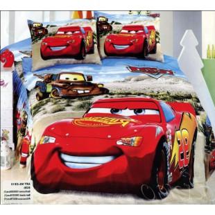 Детская постель с тачками - красочный сатин