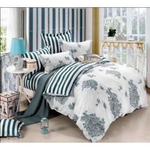 Полосы и растительный принт - сатиновое постельное бело-синей гаммы