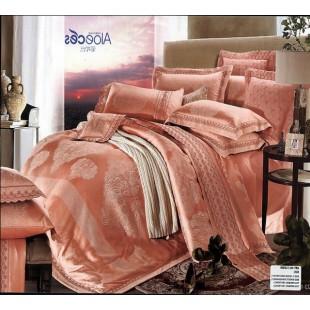 Постельное белье из жаккарда розового-персиковое евро 4 наволочки