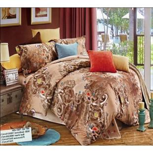 Коричнево-бежевый комплект постельного белья из сатина