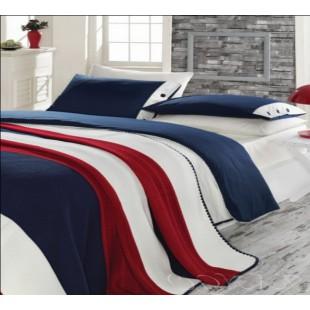 Набор постельного белья бело-сине-красный Juliet с покрывалом