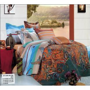 Бирюзово-оранжевое постельное белье с узором пейсли - сатин