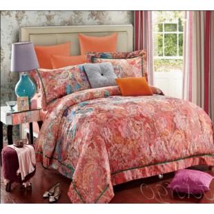 Постельное белье оранжевое из гобелена с цветочным рисунком