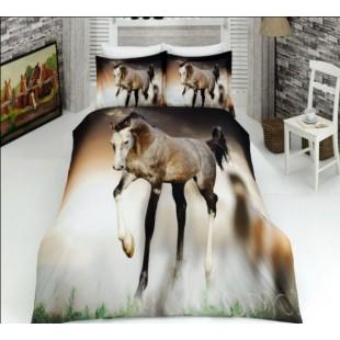 Постельное белье с лошадью на бежевом фоне 3D ранфорс Virginia Secret