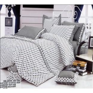Белое постельное белье в черный горох - Прованс