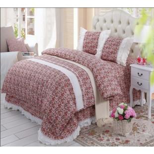 Набор постельного белья серии Прованс бордовый с покрывалом